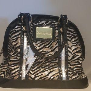 Betsey Johnson glitter zebra print bowlin bag
